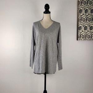 Vince Deep V Neck Gray Cotton Sweter Size M